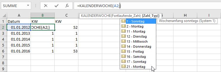 Excel im betrieblichen Umfeld: Kalenderwoche aus …