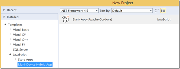 Hybrid App Visual Studio
